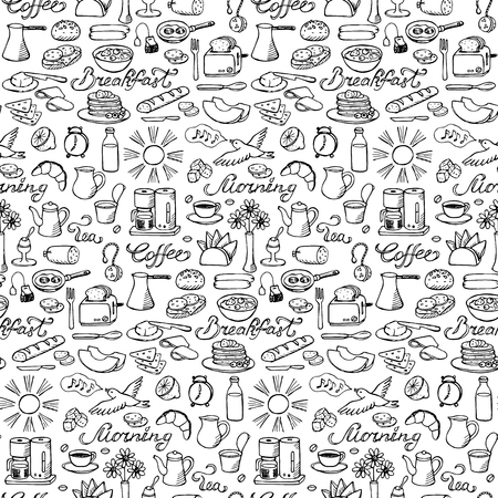 boiled: Hand drawn seamless breakfast pattern