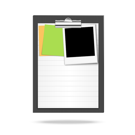 note paper: Clipboard, leaf of lined paper, note papers and photo