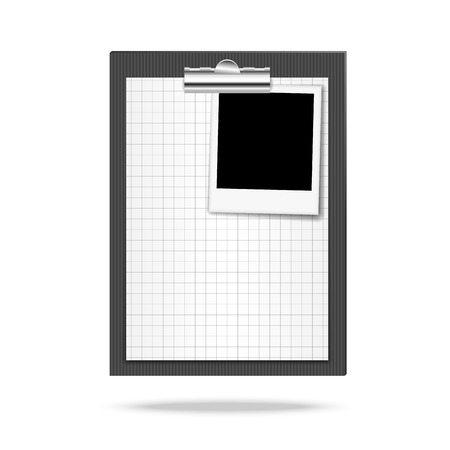 squared: Vector illustration of clipboard, leaf of squared paper and photo Illustration