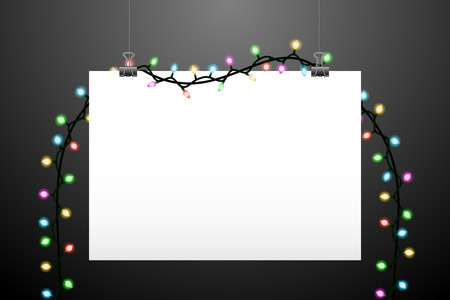white picture frame: Horizontal handing paper and lights