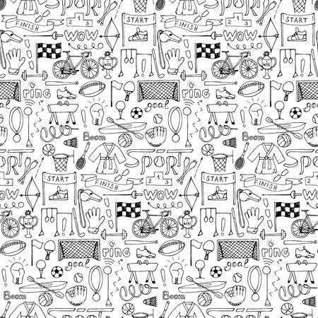 Sport hand drawn seamless pattern
