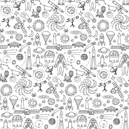 Seamless pattern with doodle space elements