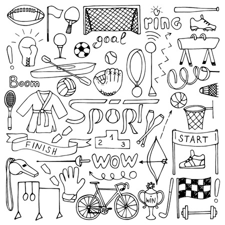 Hand drawn Sport equipment set