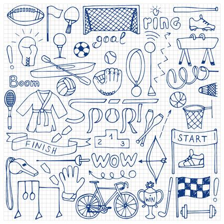 squared: Hand drawn Sport equipment set on squared paper Illustration