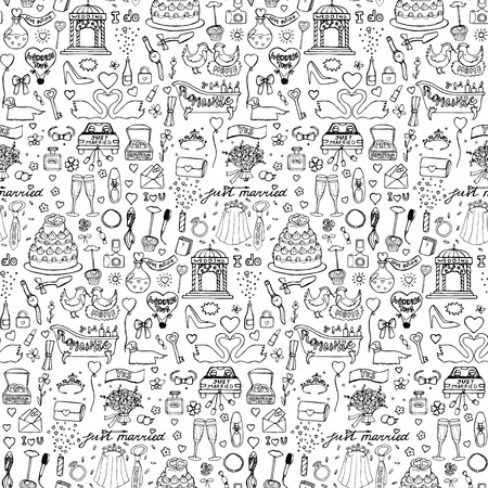 black men: Seamless wedding hand drawn doodle pattern