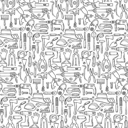 rasp: Hand drawn seamless pattern with repair tools
