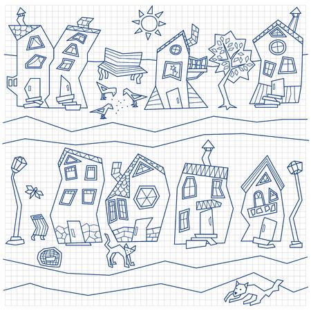 extracto de la calle de la ciudad sobre papel cuadriculado Ilustración de vector