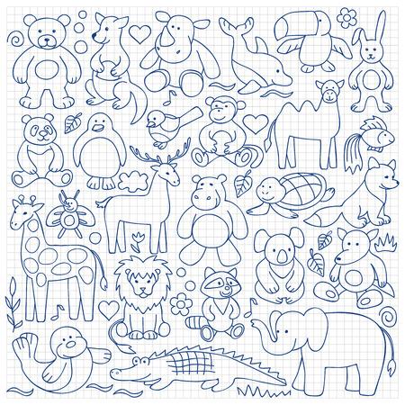Juguetes animales para niños situado en el fondo cuadrado Ilustración de vector