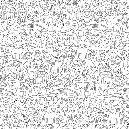 Seamless pattern of children animal toys