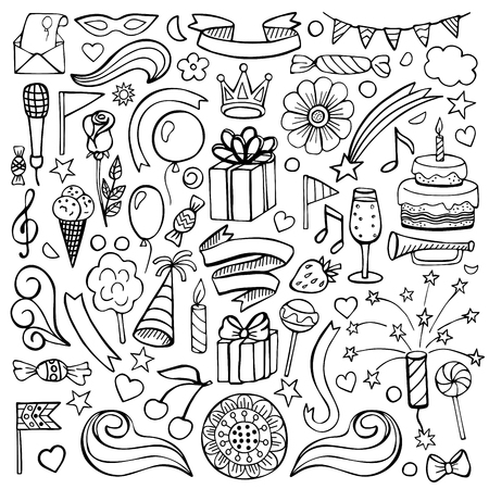 Vector illustration of hand drawn doodle birthday elements