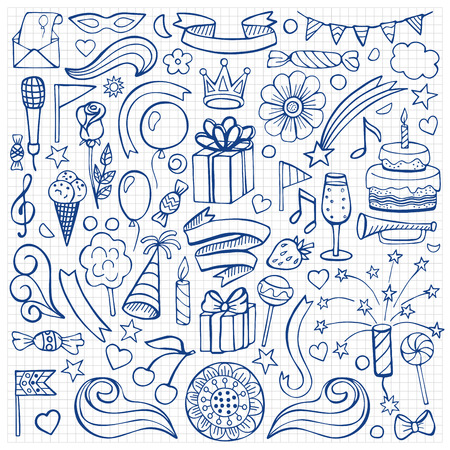drawing paper: Vector illustration of hand drawn doodle birthday elements