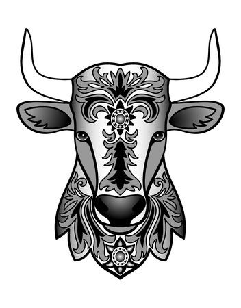 toros bravos: Ilustración del vector de animales abstracto para tatuaje, impresión textil, símbolo calendario chino