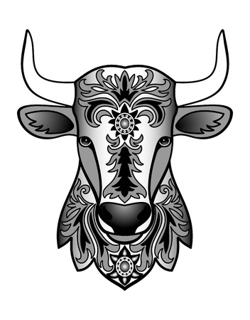 textiles: Vector illustration of abstract animal for tattoo, textile print, chinese calendar symbol