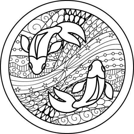 signes du zodiaque: Signe astrologique Poissons Illustration