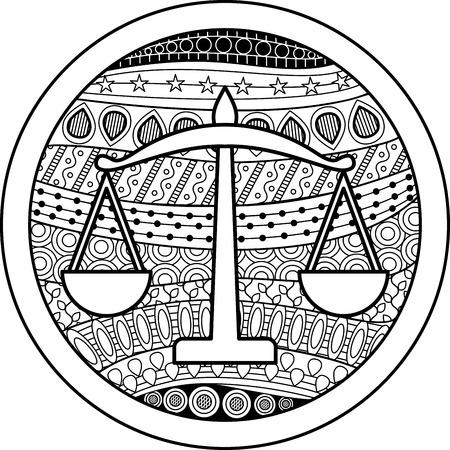 libra zodiac: Zodiac sign Libra Illustration