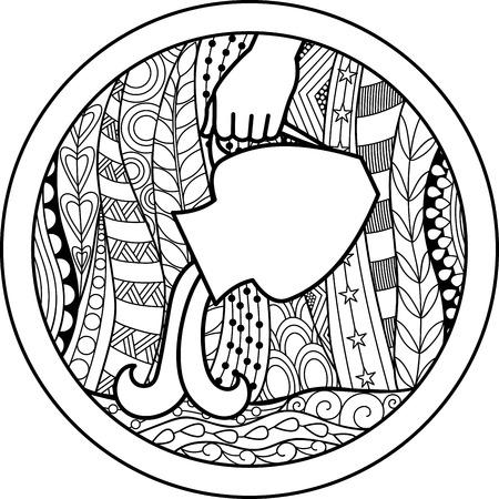 Zodiac sign Aquarius  イラスト・ベクター素材