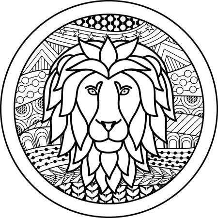 dessin noir et blanc: Zodiac signe du Lion