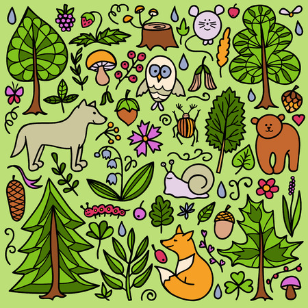 bear berry: Vector illustration of doodle forest animals and plants