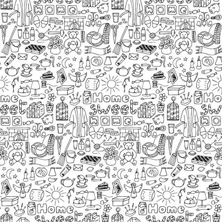 Vector illustratie met doodle huis naadloos patroon voor wallpapers, het verpakken, achtergronden, textielprints
