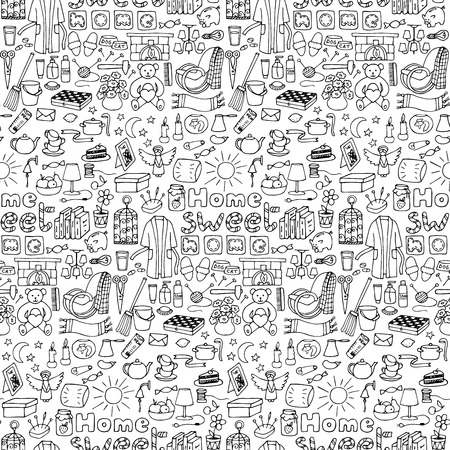 Vector illustration with doodle home seamless pattern for wallpapers, wrapping, backgrounds, textile prints