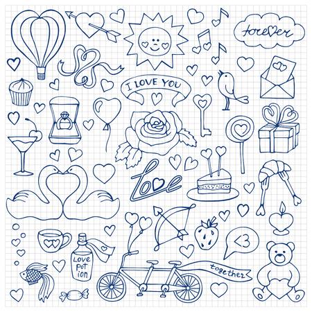 Ilustración del vector con los elementos del Doodle del amor sobre papel cuadriculado