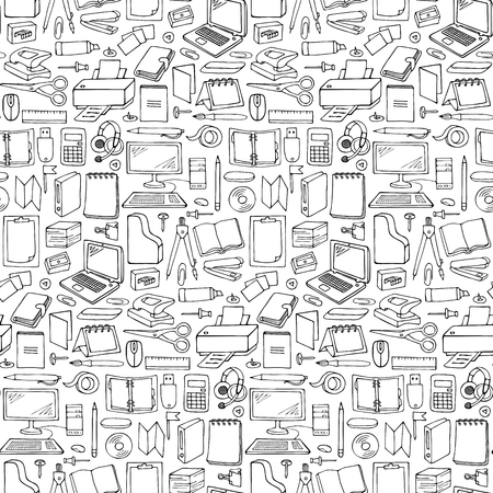 office supply: Vector illustration with doodle office seamless pattern for wrapping, backgrounds, wallpapers, textile prints
