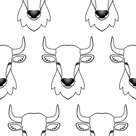 year of the ox: Vector illustration of seamless pattern with abstract bulls