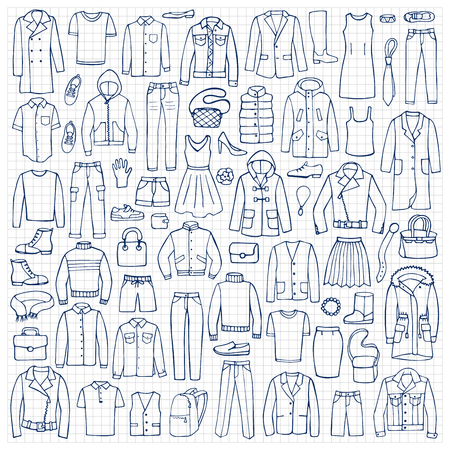 Ilustración del vector en el papel ajustado de la ropa y elementos accesorios para los fondos, estampados textiles, web y diseño gráfico