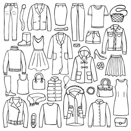 fashion clothes: Hand drawn doodle set with woman clothes