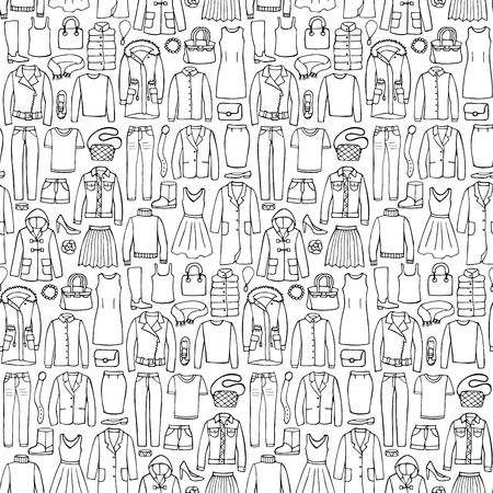 Vector illustration of hand drawn man and woman clothes and accessories seamless pattern for wrapping, textile prints, wallpaper Illustration
