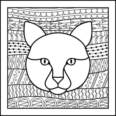 zodiacal: Vector illustration of abstract zodiacal Cat for horoscopes,  talismans, textile prints