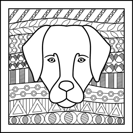 zodiacal: Vector illustration of abstract zodiacal Dog for horoscopes,  talismans, textile prints