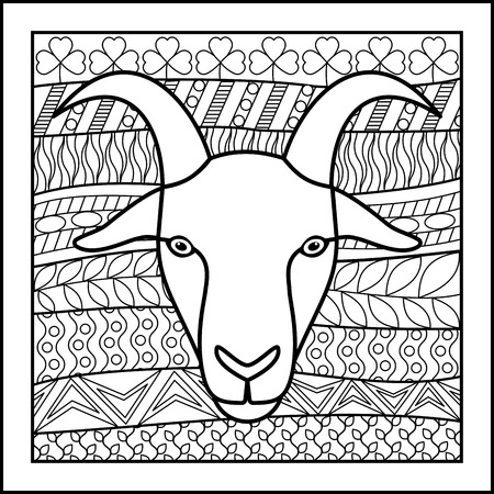 zodiacal: Vector illustration of abstract zodiacal Goat for horoscopes,  talismans, textile prints