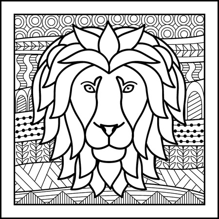 zodiacal: Vector illustration of abstract zodiacal Lion for horoscopes,  talismans, textile prints