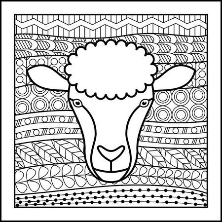 zodiacal: Vector illustration of abstract zodiacal Sheep for horoscopes,  talismans, textile prints