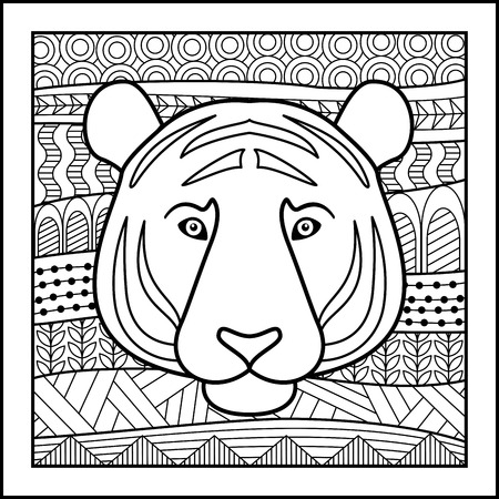 zodiacal: Vector illustration of abstract zodiacal Tiger for horoscopes,  talismans, textile prints
