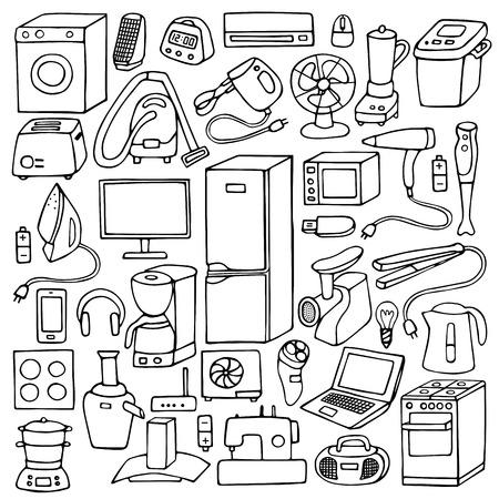 fridge lamp: Vector illustration of doodle household appliances element Illustration