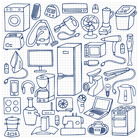 squared paper: Vector illustration of doodle household appliances element on squared paper