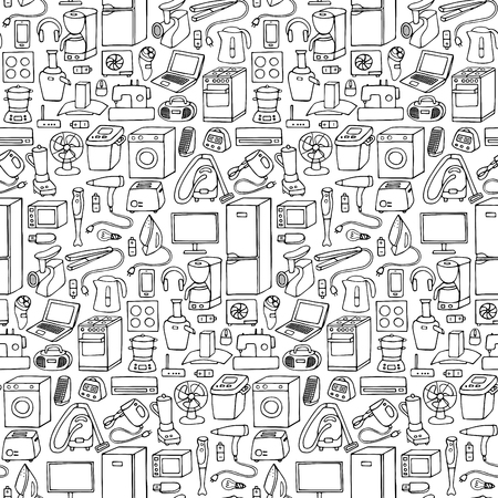 Vector illustration of doodle seamless household appliances element