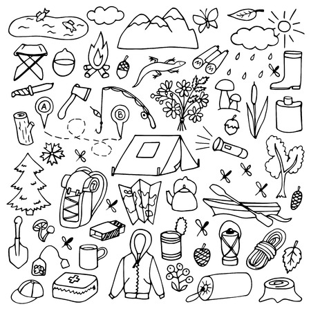 temperino: Vector illustration of doodle tourism and travel elements