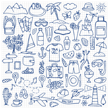 squared paper: Vector illustration of doodle travel and tourism elements on squared paper