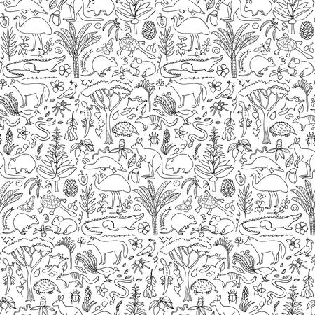 australian animals: illustration of seamless pattern with Australian animals and plants