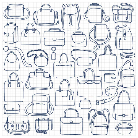squared: illustration of  woman and man bags on squared paper Illustration