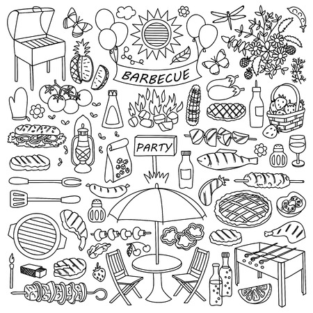 mangal: illustration of barbecue party elements