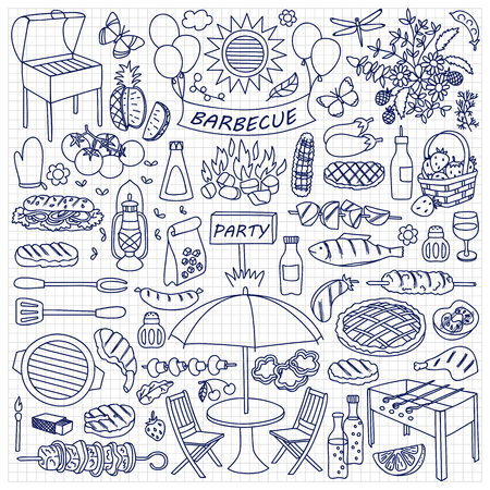 mangal: illustration of barbecue party elements on squared paper