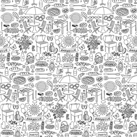 mangal: illustration of seamless pattern with barbecue party elements Illustration