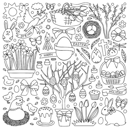 illustration with  easter elements