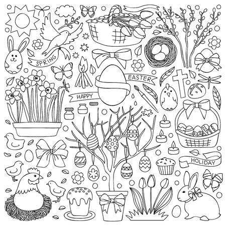 pasqua cristiana: illustrazione, con elementi di Pasqua Vettoriali