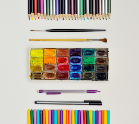 moist: Illustration of moist colours with brushes, pencils and inks Stock Photo