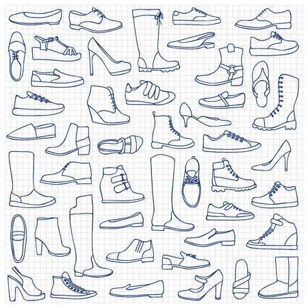 squared paper: illustration of  man and woman shoes on squared paper